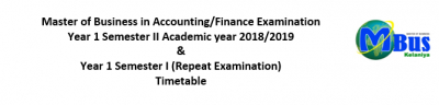 Master of Business in Accounting/Finance Examination Timetable