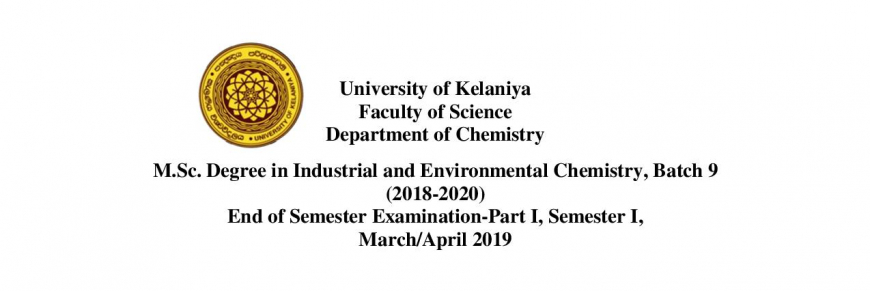 M.Sc. Degree in Industrial and Environmental Chemistry-Examination Timetable